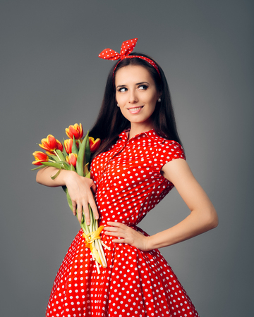 petticoat: Cute Girl in Retro Red Polka Dress with Tulips