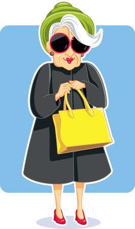 Principal mode Lady holding Purse Illustration Vecteur