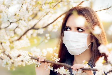 alergenos: Mujer con Respirador Mascarilla Lucha Alergias Primavera Al aire libre
