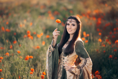 Medieval Princess in a Field of Poppies