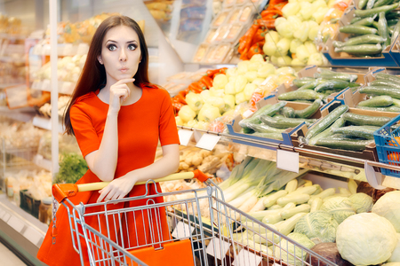 Curious Woman Shopping  at the Grocery Store