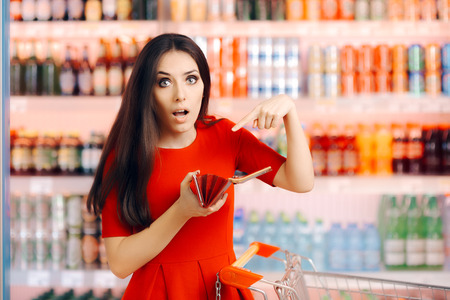 Funny Customer Checking Her Wallet in a Department Store Imagens - 76300090