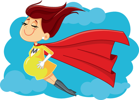 Super Mom Vector Cartoon Illustration