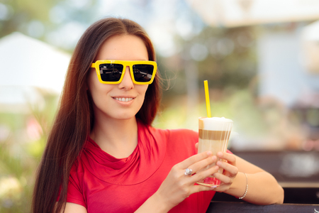Happy Beautiful Woman with Summer Coffee Drink Stock Photo