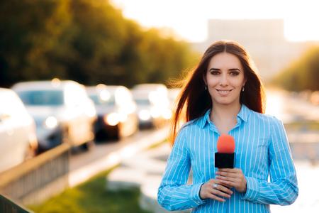 Female News Reporter on Field in Traffic Archivio Fotografico