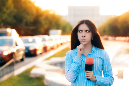 live work city: Surprised Female Reporter on Field in Traffic Stock Photo