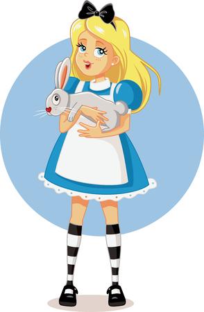 Alice in Wonderland with Her White Rabbit Vector