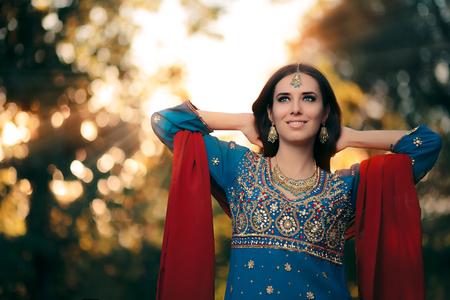 Fashion Woman Wearing Indian Costume and Jewelry Set Stock Photo