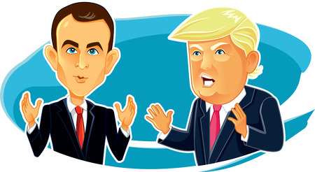 Emmanuel Macron Donald Trump Editorial Vector Caricature