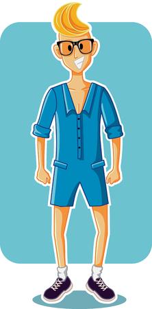 Funny Cartoon Man Wearing Male Romper. Illustration