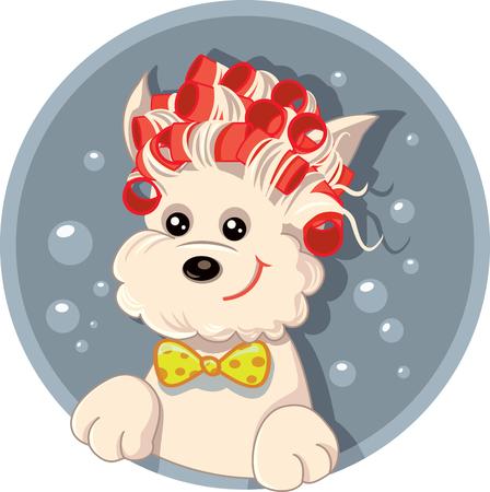 Chien drôle avec bande dessinée de vecteur de rouleaux de cheveux Pet Salon