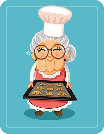 Babcia pieczenia czekoladowe frytki ilustracji wektorowych ciasteczka