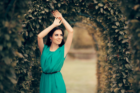 Beautiful Elegant Woman Attending Formal Party in the Garden Stock Photo