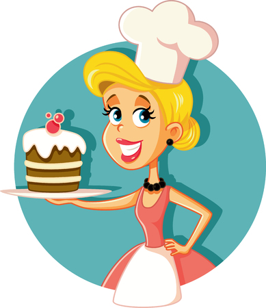 Female Pastry Chef Baking a Cake Vector Illustration Ilustracja