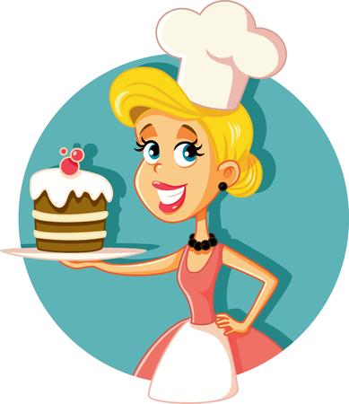 Mujer pastelería chef hornear un pastel ilustración vectorial