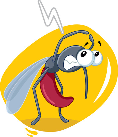 Scared Mosquito Insect Vector Cartoon illustration.