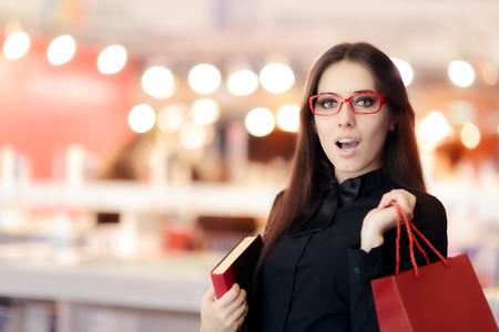 Surprised Girl Wearing Eyeglasses Shopping for Books
