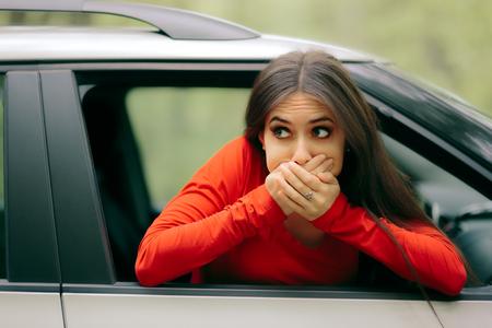 Car Sick Woman Having Motion Sickness Symptoms
