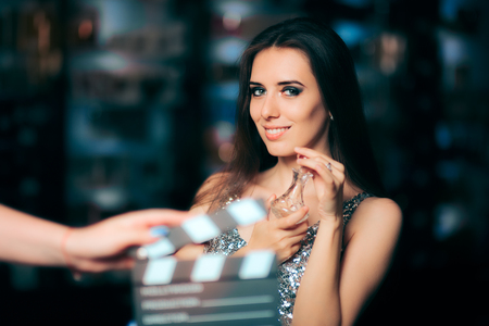 Model Acting in Perfume Commercial Ready to Film New Scene