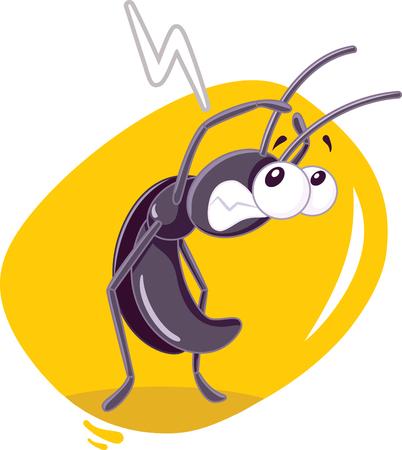 Fearful Cockroach Insect Vector Cartoon