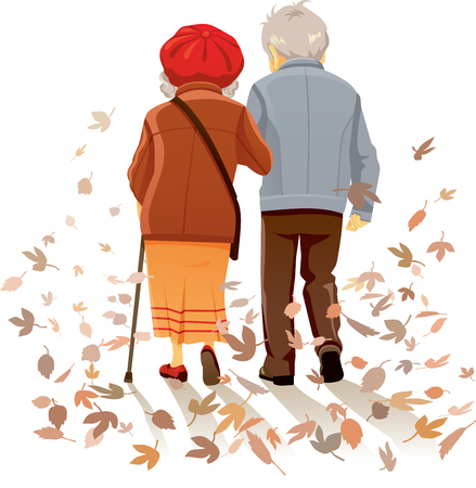Old Couple in Love Walking in Autumn Decor Illustration