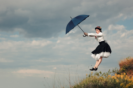 Retro Woman with Umbrella Up in The Air in Fantasy Portrait
