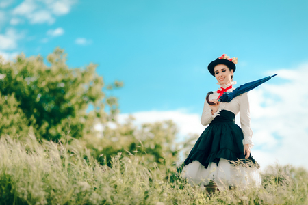 Retro Woman in Vintage Costume Fantasy Portrait Outdoors