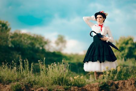 Retro Woman in Vintage Costume Fantasy Portrait Outdoors