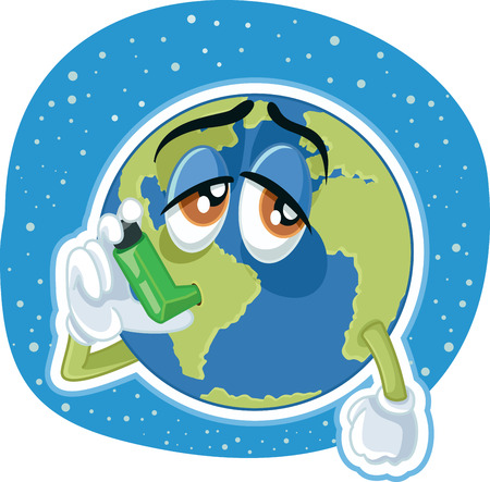 ozone layer: Suffering Planet Earth. Illustration