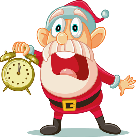 Stressed Santa with Clock in Big Hurry for Christmas