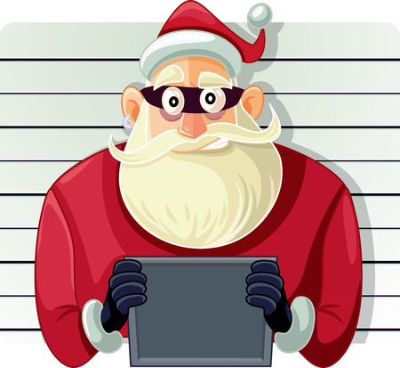 Bad Santa Police Mugshot  Vector Cartoon