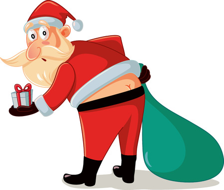 Funny Santa in Embarrassing Moment with Christmas Gifts Cartoon