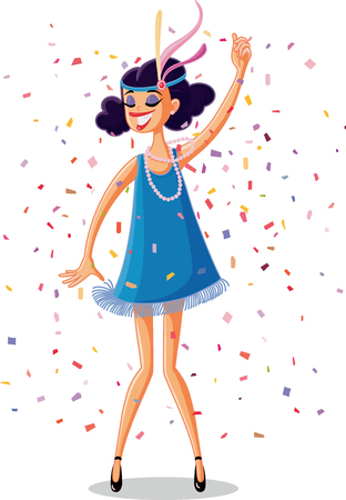 Flapper Party Girl from the Roaring 20s Retro Vector