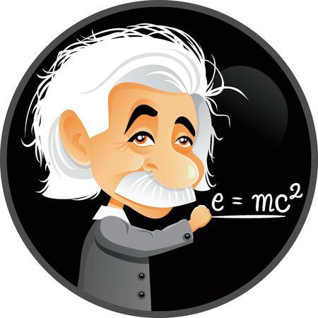 Editorial Albert Einstein Vector Cartoon Illustration