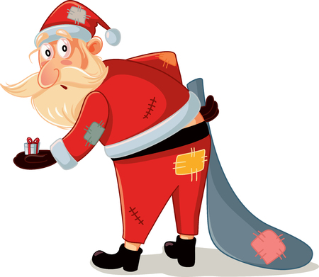 Poor Santa with Patchy Costume and Small Gift Vector Cartoon Illustration