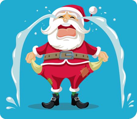 Trauriger schreiender Sankt mit leeren Taschen-Vektor-Karikatur Standard-Bild - 90405055