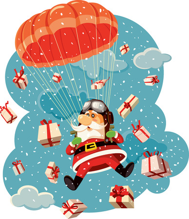 Santa Claus Flying with Parachute Surrounded by Gifts Vector Illustration