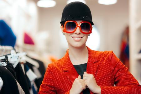 Eccentric Stylish Fashion Girl With Big Sunglasses and Chic Hat Stock Photo