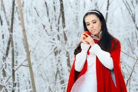 Beautiful Snow White Princess in Winter Fairy Tale Wonderland 스톡 콘텐츠
