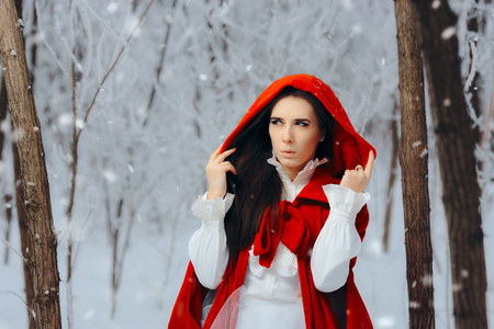 Surprised Red Riding Hood Princess in Winter Forest