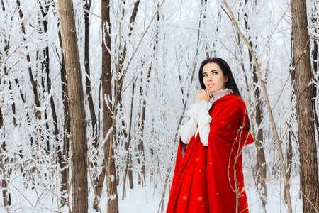 Beautiful Red Riding Hood Princess in Magic Winter Forest Stock Photo