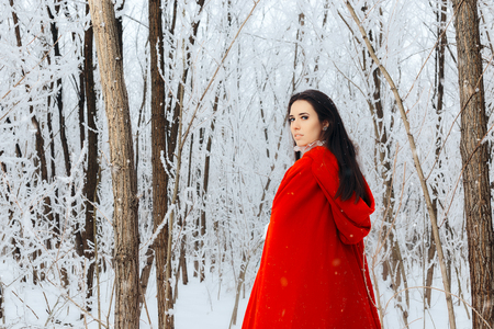 Beautiful Red Riding Hood Princess in Magic Winter Forest 스톡 콘텐츠
