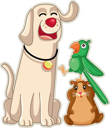 Funny Pet Shop Mascots Vector Cartoon