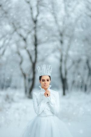 Beautiful Ice Queen in Winter Wonderland