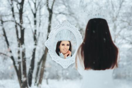 Snow Queen Looking in Magic Mirror Winter Frost Fantasy Portrait