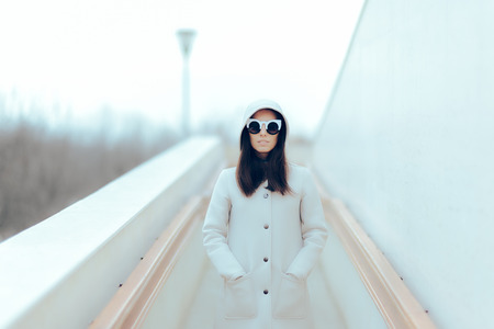 Urban Fashion Cool Girl with Stylish Trendy Sunglasses Stock Photo