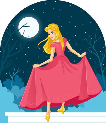 Princess Cinderella Losing Her Shoe at The Ball Illustration