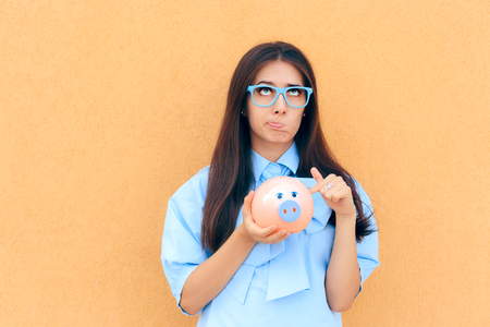 Worried Woman with Piggy Bank thinking what to Invest in