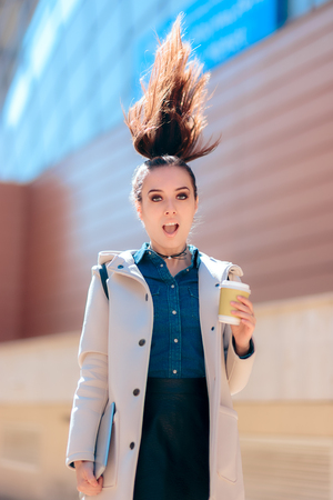 Funny Girl with Hot Drink Coffee Cup For Extra Morning Energy