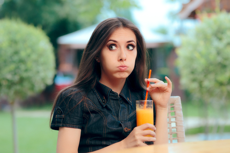 Bored Alone Woman Stood Up on A Restaurant Date